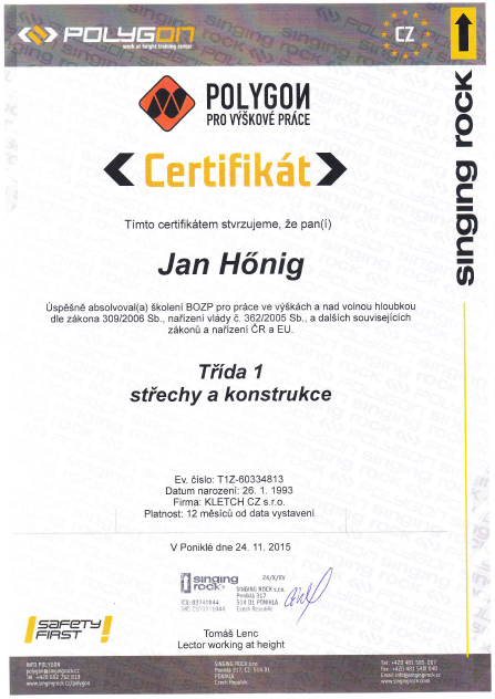 certificate roof constructions Honig